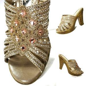 Blinged Out Platform Heeled Sandals Jeweled #38